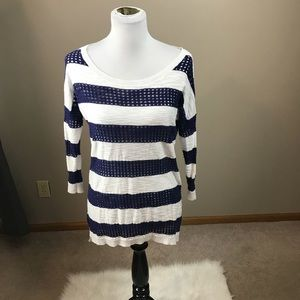 Express White And Blue Striped Lightweight Sweater